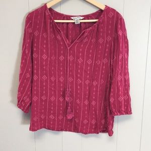 Tommy Bahama Fuchsia Pink Embroidered Peasant Top